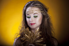 Gorgeous girl on yellow background, proffesional make up, artist Royalty Free Stock Photography