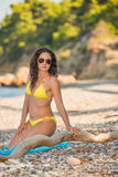 Gorgeous girl in yellow bikini Royalty Free Stock Photo