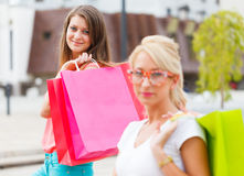 Gorgeous Girls Out in City Shopping Stock Image
