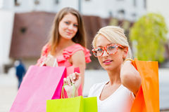 Gorgeous Girls Out in City Shopping Stock Photos