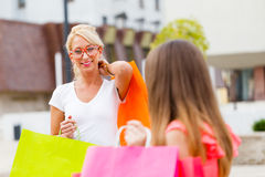 Gorgeous Girls Out in City Shopping Stock Images