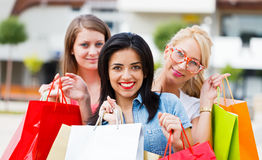 Gorgeous Girls Out Shopping Stock Photos