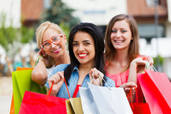 Gorgeous Girls Out Shopping Stock Photography