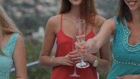 Gorgeous girls in the restaurant stock footage