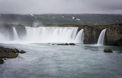 Gorgeous Godafoss waterfalls in north Iceland. Slow shutter speed. Silk effect Stock Photos