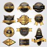 Gorgeous golden labels. Collection of gorgeous golden labels design set Royalty Free Stock Images