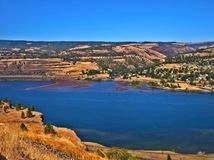 Gorgeous Gorge. Columbia River Gorge as seen from the top of the Rowena Loops, near Rowena, OR. Town of Lyle, WA to the right royalty free stock photography