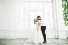 Gorgeous groom gently hugging stylish bride. Sensual moment of luxury wedding couple.  stock image