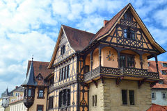 A Gorgeous Half-Timbered House in Germany. A gorgeously crafted half-timbered house in Menningen, Germany, with some beautiful window boxes in the distance Royalty Free Stock Photo