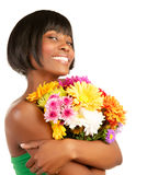 Happy woman holding flowers Stock Images
