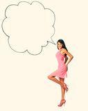 Gorgeous happy woman in pink gown with speech balloon Royalty Free Stock Photos