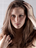 Gorgeous Headshot Of Model In Front Of Blinds Stock Images
