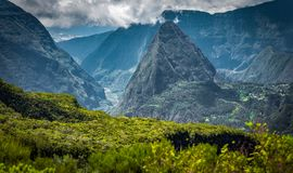 Scenery from the mafatte, la reunion. Gorgeous hike through the cirque of mafatte, one of the best and most amazing hikes in the world royalty free stock image