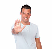 Gorgeous hispanic guy with high gesture Royalty Free Stock Photos