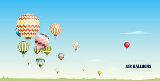Gorgeous horizontal banner, background or picturesque landscape with hot air balloons flying in clear blue sky. Festival. Of beautiful manned aircrafts. Vector Stock Photography