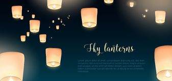 Gorgeous horizontal banner with glowing Kongming flying lanterns. Floating in evening sky and place for text. Background with national Chinese holiday airborne Stock Photo