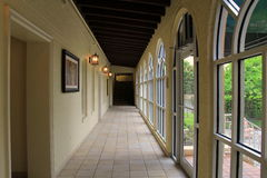 Gorgeous image of long corridor in historic hotel,King and Prince Beach and Golf Resort,St.Simons Island,2015 Royalty Free Stock Image