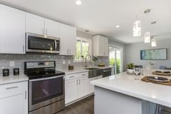 Gorgeous kitchen with open concept floorplan. royalty free stock image
