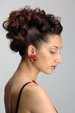 Gorgeous lady. Profile of a Beautiful lady with gorgeous hair style stock photos