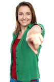 Gorgeous lady pointing you out Royalty Free Stock Photography