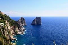 Gorgeous landscape of famous faraglioni rocks on Capri island, Italy. Stock Photography