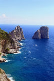 Gorgeous landscape of famous faraglioni rocks on Capri island, Italy. Stock Photos