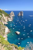Gorgeous landscape of famous faraglioni rocks on Capri island, Italy Stock Images