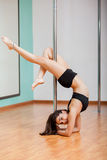 Gorgeous Latin pole dancer Royalty Free Stock Photography