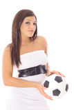 Gorgeous latin woman holding soccer ball Royalty Free Stock Images