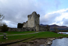 Gorgeous Look at Ross Castle in Ireland on a Stormy Day Stock Photo
