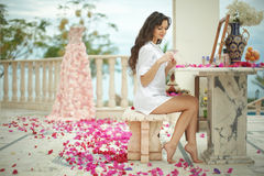Gorgeous, lovely bride, model preparing to wedding day using bro Stock Images