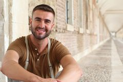 Gorgeous male smiling close up royalty free stock image