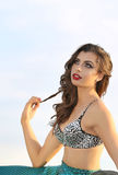 Gorgeous mermaid. A young and attractive girl dressed as mermaid royalty free stock images