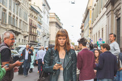 Gorgeous model outside Trussardi fashion show building in Milan, Royalty Free Stock Image