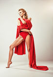 Gorgeous model in red clothing Stock Photography