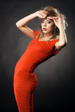 Gorgeous model in red gown Royalty Free Stock Photos