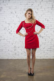 Gorgeous model in red party dress Royalty Free Stock Image