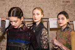 Gorgeous models in the backstage at Cividini show Stock Photography