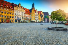 Gorgeous morning scene in Wroclaw on Market Square, Poland, Europe stock photography
