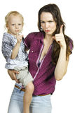 Gorgeous mother and son pointing fingers Royalty Free Stock Photos