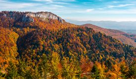 Gorgeous mountainous autumn landscape. Cliff above the forest with colorful foliage. beautiful view in evening light with blue sky Royalty Free Stock Image