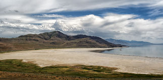 Gorgeous mountain and lake view in Antelope Island Stock Images