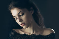 Gorgeous mysterious brunette Royalty Free Stock Photo
