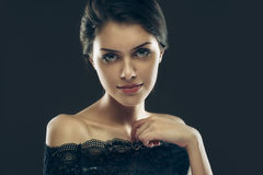 Gorgeous mysterious brunette Stock Photos