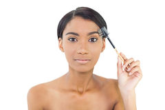 Gorgeous natural model using eyebrow brush Royalty Free Stock Photos