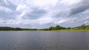 Gorgeous nature landscape on a summer day. Green plants, water surface and blue sky with snow white clouds. Amazing nature landscape background stock video footage