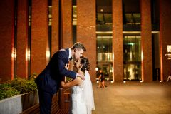 Gorgeous newlyweds in city at night stock image