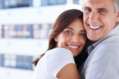 Gorgeous nice beautiful couple hugging together Royalty Free Stock Image