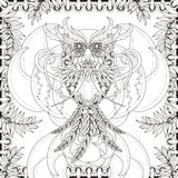 Gorgeous owl coloring page Royalty Free Stock Image