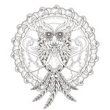 Gorgeous owl coloring page Royalty Free Stock Photos